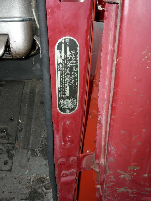 1939 to 1947 Dodge Truck Serial Number Tags