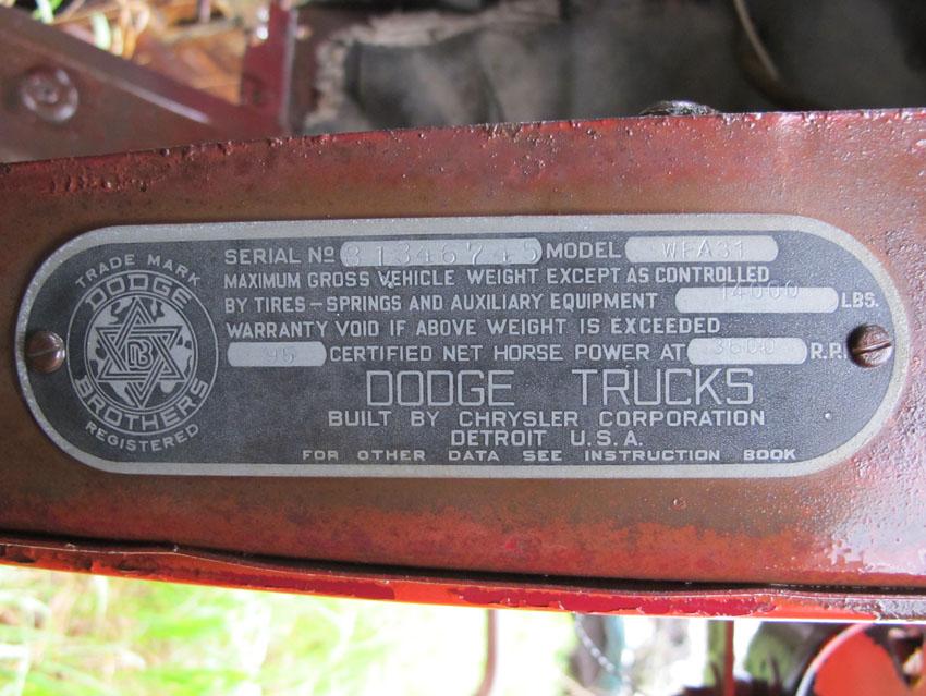1939 To 1947 Dodge Truck Serial Number Tagsrhtownwagon: Dodge Vin Locations At Elf-jo.com
